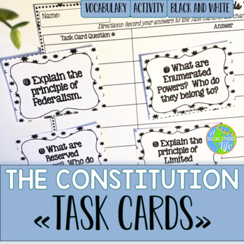 The Constitution Task Cards - Black and White