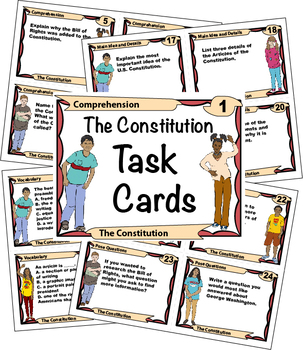 The Constitution Task Cards with Close Reading Pages
