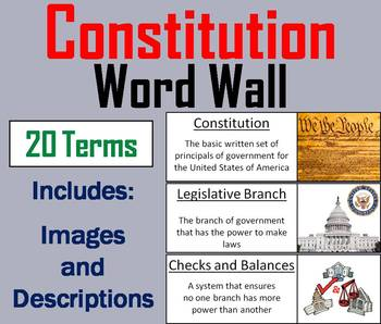 US Constitution Word Wall Cards