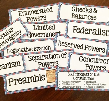 Constitution Word Wall without definitions