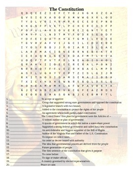 The Constitution Wordsearch