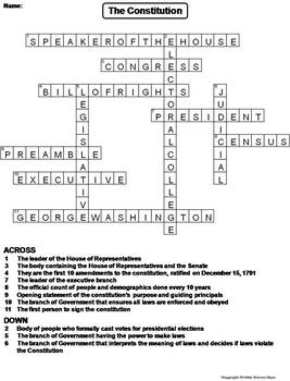 The Constitution Worksheet/ Crossword Puzzle