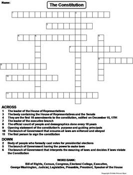 US Constitution Worksheet/ Crossword Puzzle