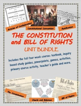 The Constitution and Bill of Rights unit bundle, including text