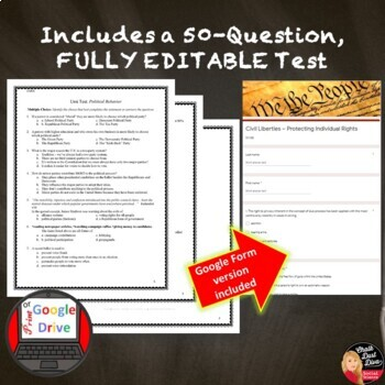 The Constitution and Federalism TEST and REVIEW GAME –Editable (Civics)