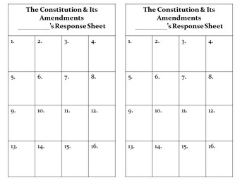The Constitution and Its Amendments Task Cards with QR Codes