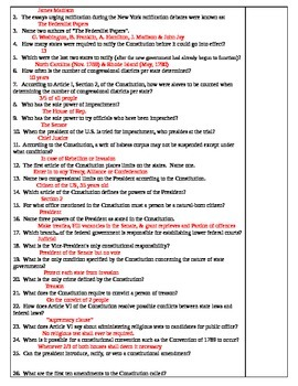 The Constitution of The United States Scavenger Hunt