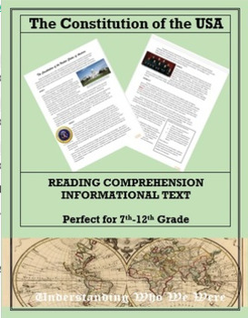 The Constitution of the United States:  Informational Text Worksheet