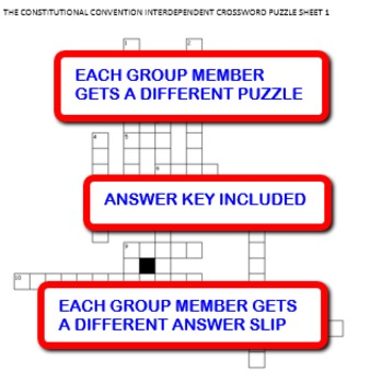 The Constitutional Convention:  Interdependent Crossword Puzzles Activity