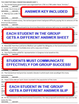 The Constitutional Convention:  Interdependent Answer Sheets Activity