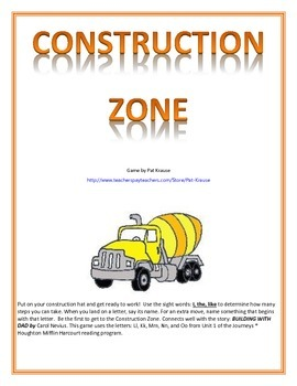 Letter Recognition and Beginning Sounds - The Construction Zone