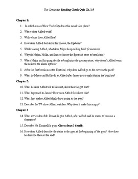 The Contender Reading Quiz ch. 1-5