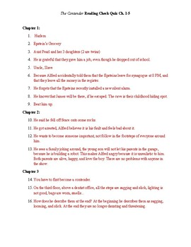 The Contender Reading Quiz ch. 1-5 Answer Key