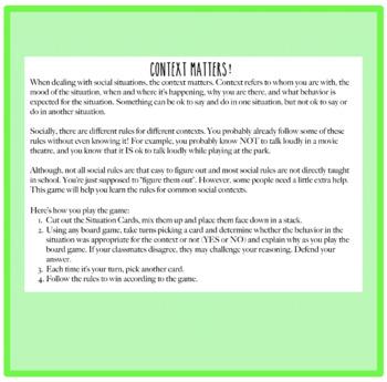 Context Matters! A Social Skills Game
