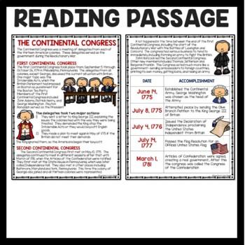 The Continental Congress Reading Comprehension; American Revolution