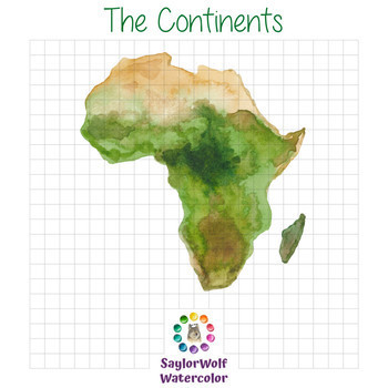 The Continents - Watercolor World Map Clipart