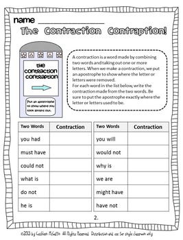The Contraction Contraption: A SMARTBoard Literacy Activity