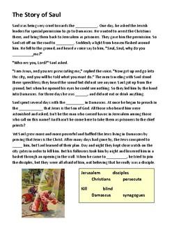 The Conversion of Saul (Saint Paul) Cloze Activity