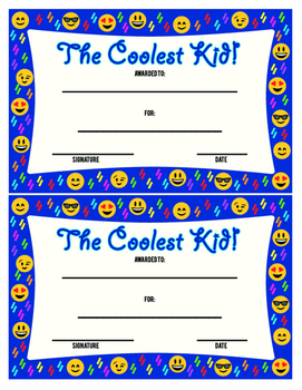 The Coolest Kid Award - Colorful Printable