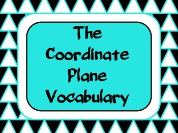 The Coordinate Plane Vocabulary Foldable