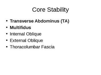 The Core - Torso Stability & Lumbar Segmental Stability