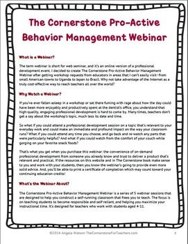 The Cornerstone Pro-Active Behavior Management Online Course
