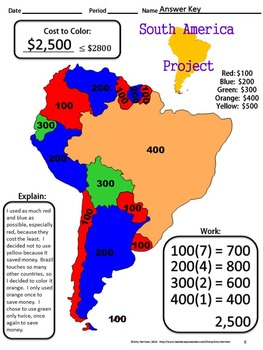 Map Of America To Color.The Cost To Color In South America