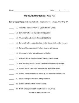 The Count of Monte Cristo Final Test with Answer Key
