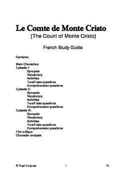 The Count of Monte Cristo-French Study Guide