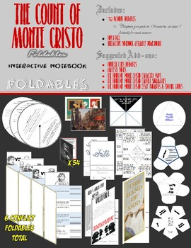 The Count of Monte Cristo Interactive Notebook - 80 VARIOUS FOLDABLES