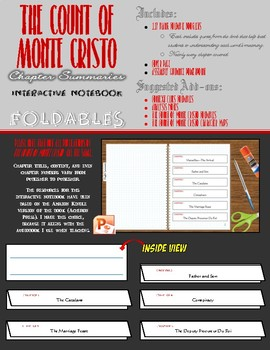 The Count of Monte Cristo Interactive Notebook-Chapter Sum