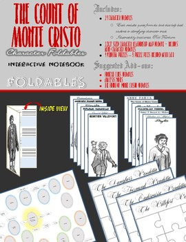 The Count of Monte Cristo Interactive Notebook - Character Foldables - 74 PIECES