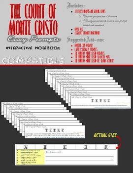 The Count of Monte Cristo Interactive Notebook - Essay Prompts + Scoring Guides