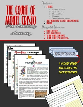 The Count of Monte Cristo - Pre-reading Cooperative Group Activity