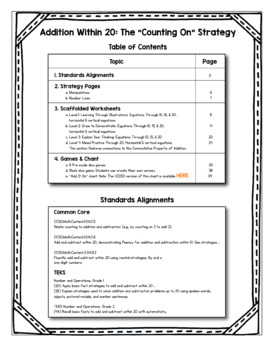 """Addition Within 20: The """"Counting On"""" Strategy Scaffolded Worksheets and Games"""