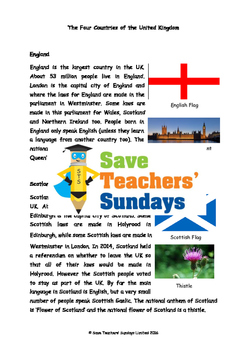 England, Scotland, Wales & NI Lesson plan, Information text and Comprehension Qs