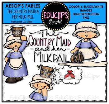 The Country Maid And Her Milk Pail (Aesop's Fable) Clip Ar