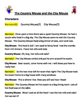 Country Mouse and the City Mouse Reader's Theater scripts