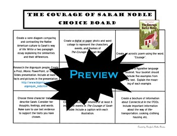 The Courage of Sarah Noble Choice Board Novel Study Activities Menu Book Project