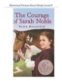 The Courage of Sarah Noble Level P Novel Study