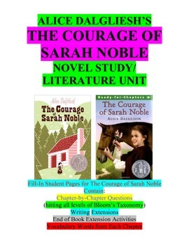 The Courage of Sarah Noble Literature Unit/Novel Study/Guided Reading Set