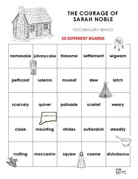 The Courage of Sarah Noble Vocabulary bingo