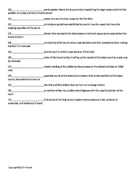 The Courts Quiz or Worksheet for American Government