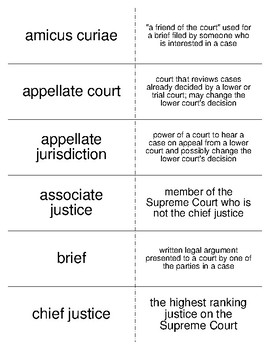 The Courts Vocabulary Flash Cards for American Government