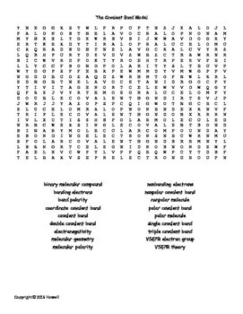 The Covalent Bond Model Vocabulary Word Search for General Chemistry