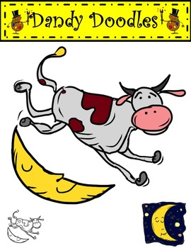 The Cow Jumped Over the Moon Clip Art by Dandy Doodles