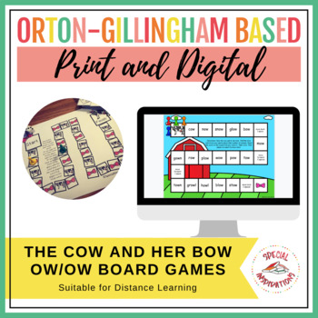 The Cow and Her Bow! (An ow/ow phonics board game activity