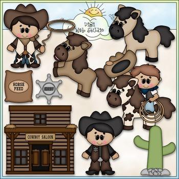 The Cowboy Way 1 - CU Clip Art & Black & White Set