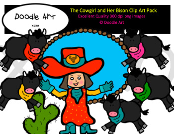 The Cowgirl and Her Bison Clipart Pack