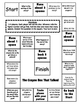 """""""The Crayon Box That Talked"""" Comprehension Game Board"""